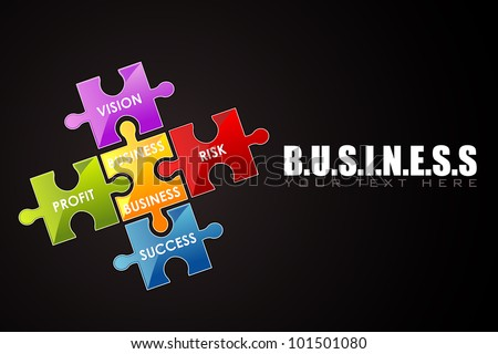 illustration of business background with jigsaw puzzle