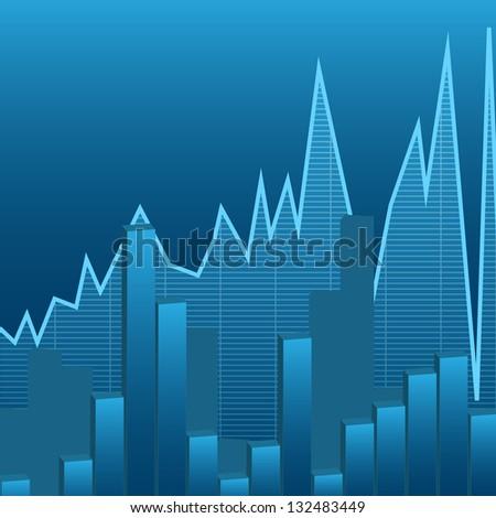 illustration of business graphs background, blue color