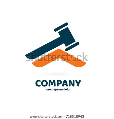 Illustration of business logotype bidding and auction. Vector design logo hammer and repair. Court pictogram, lawyer abstract icon