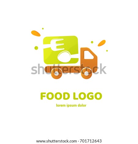 Illustration of business logotype restaurant and cafe. Vector design logo food delivery. Food pictogram, car abstract icon Foto stock ©