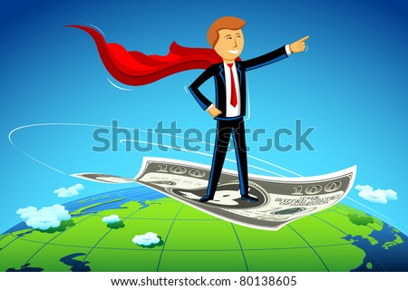 illustration of business man flying on dollar note above earth