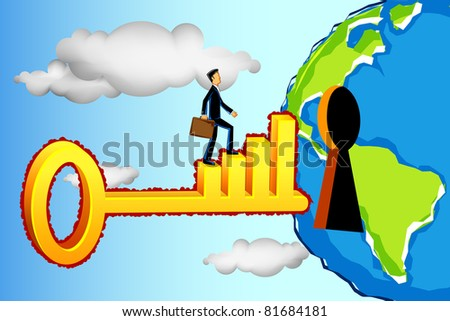 illustration of business man on bar graph key entering keyhole in earth - stock vector