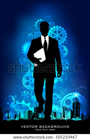 illustration of business man standing on mechanical background with gears