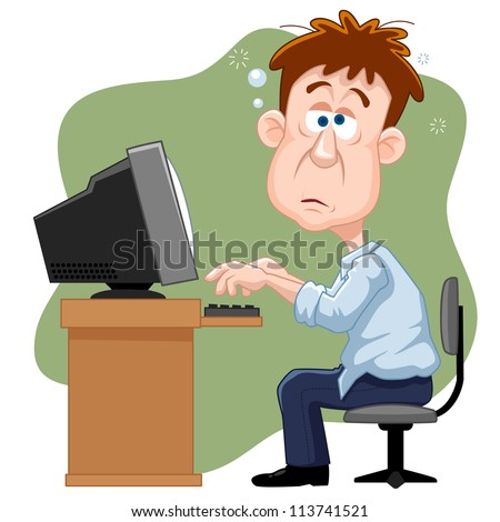 illustration of Business man working hard