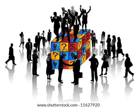 Illustration of business people and cube