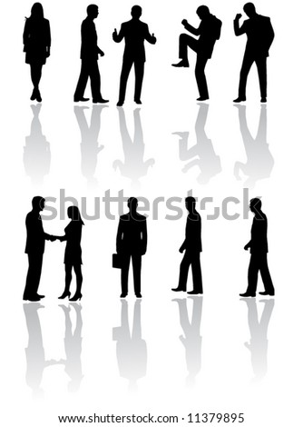 Illustration of business people and shadow