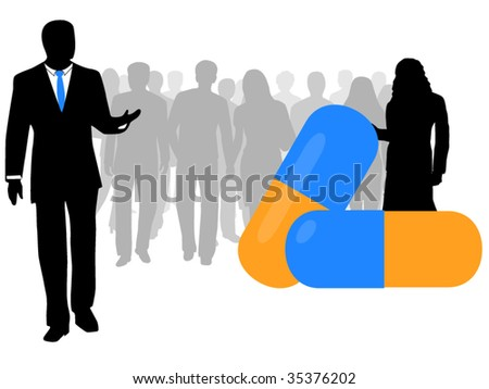 Illustration of business people, capsule