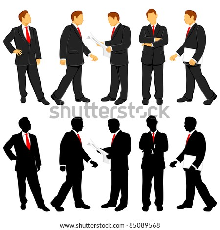 illustration of business people doing different activities