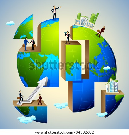 illustration of business people doing different activities on earth