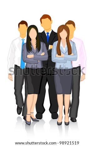 illustration of business people forming team