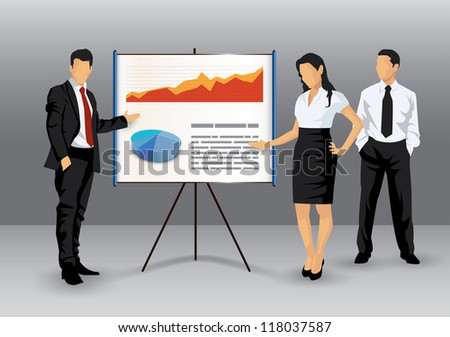 Illustration of business people making a presentation with the use of a white board showing pie-charts and graphs