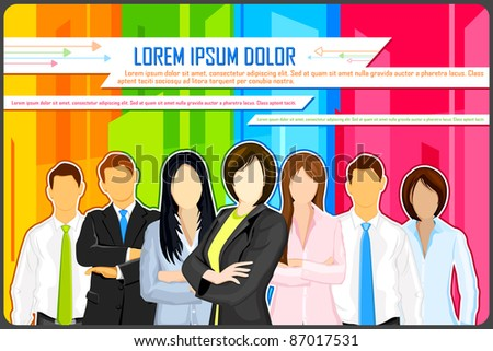 illustration of business people on colorful abstract background