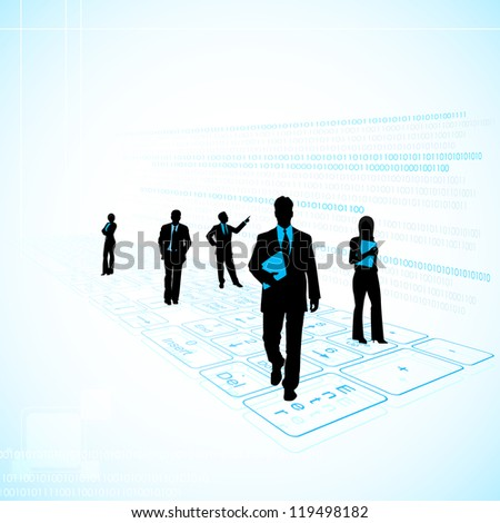 illustration of business people on technology background with keyboard