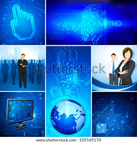 illustration of business people on technology template