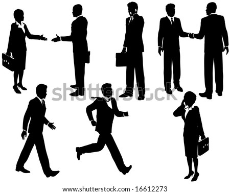 Illustration of business people silhouetted in various poses