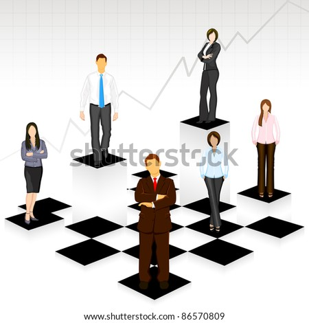 illustration of business people standing on different level of chess board