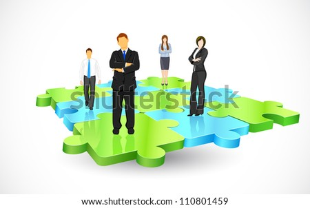 illustration of business people standing on pieces of jigsaw puzzle