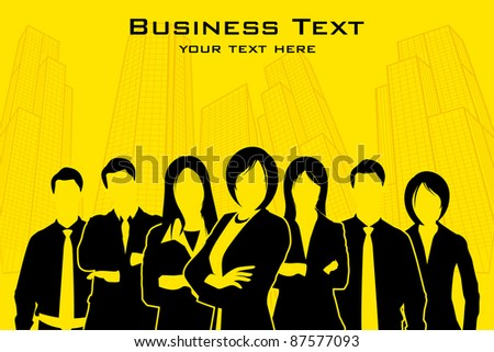 illustration of business people standing with city backdrop