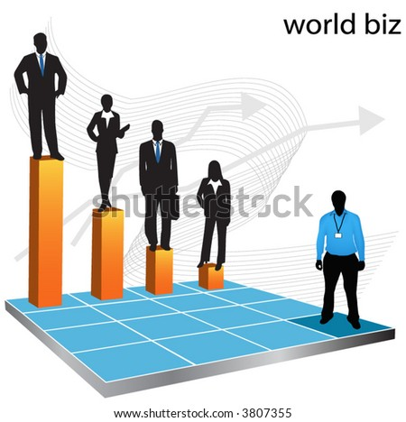 Illustration of business people... world biz - stock vector