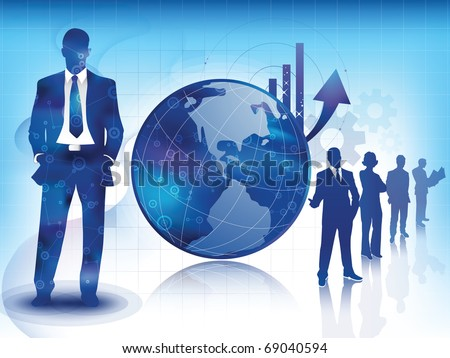 Illustration of business professionals, with an arrow showing increase sales over a global Earth concept, with a team of experts sillhouete