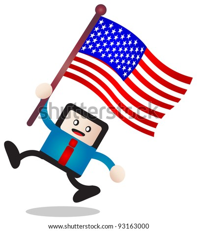 illustration of businessman bring flag