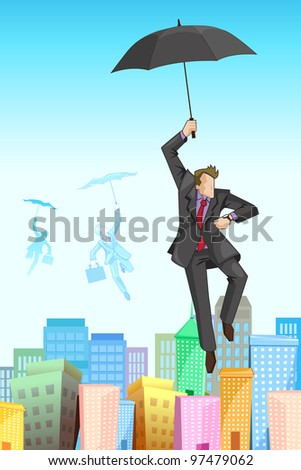 illustration of businessman flying on umbrella on cityscape