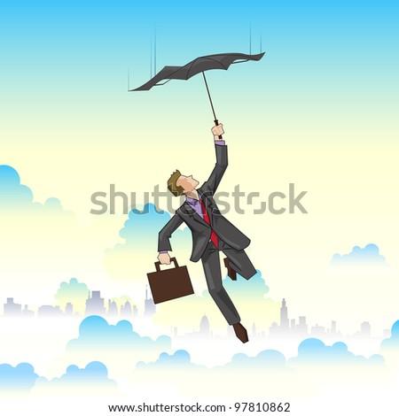 illustration of businessman flying on umbrella on cityscape