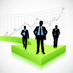 illustration of businessman standing on arrow with graph background