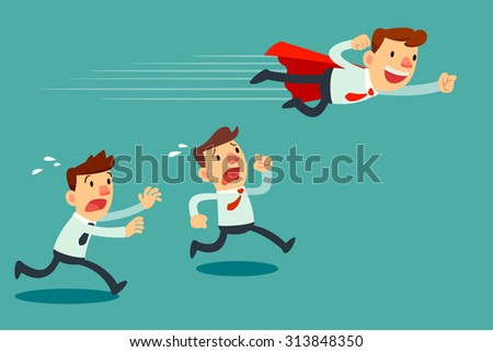 Illustration of businessman with red cape fly pass his competitor