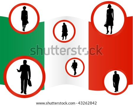 Illustration of businesspeople and flag