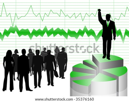 Illustration of businesspeople and graph