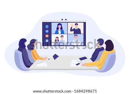 Illustration of businesspeople having video conference. Vector