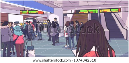 illustration of busy subway