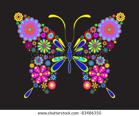 Illustration of butterfly isolated on black background - stock vector