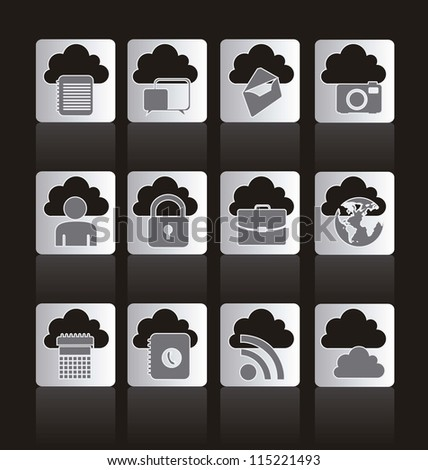 illustration of buttons of cloud computers and communications technology, vector illustration