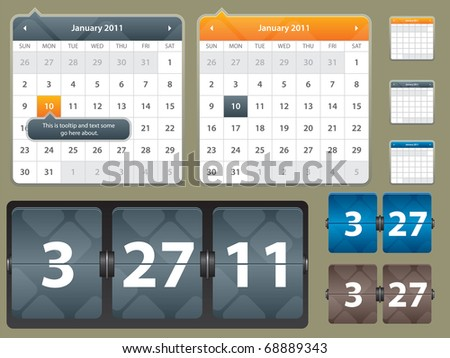 illustration of calendar and card with year date for website