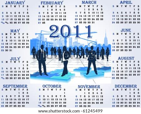Illustration of calendar for 2011. year