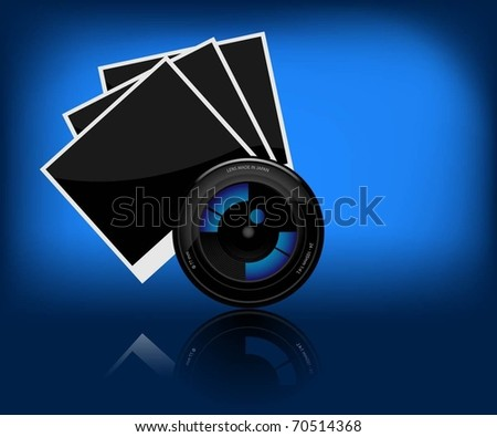 Illustration of camera lens and a photo on a dark background. Vector.