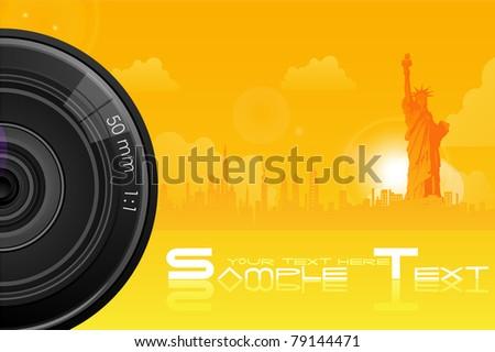 illustration of camera lens on