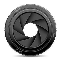 illustration of camera shutter on white background