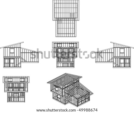 illustration of camp style house frame
