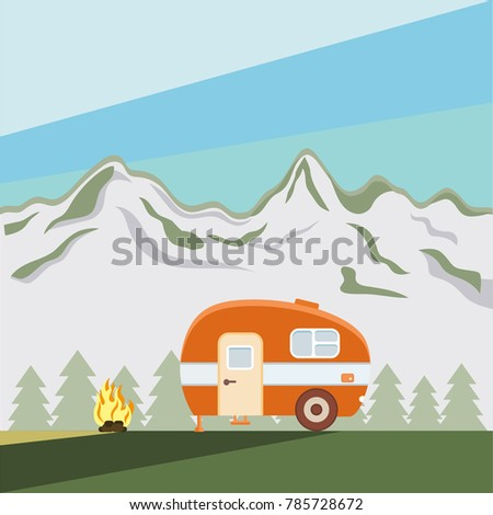 Illustration of camper on background of mountains. Flat style. Van life style.