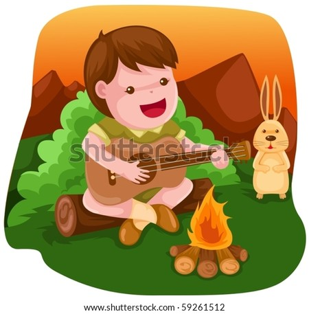 illustration of camping boy