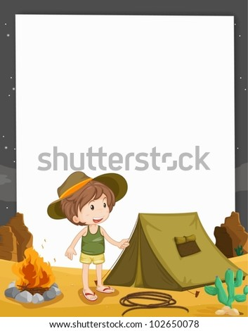 illustration of camping on paper