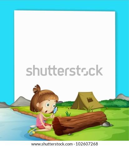 Illustration of camping paper scene