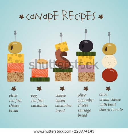 Illustration of canape recipes with ingredients in flat for Canape recipes with ingredients and procedure