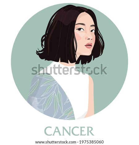 Illustration of Cancer astrological sign as a beautiful girls. Zodiac vector illustration isolated on white. Future telling, horoscope, alchemy, spirituality, occultism, fashion woman.