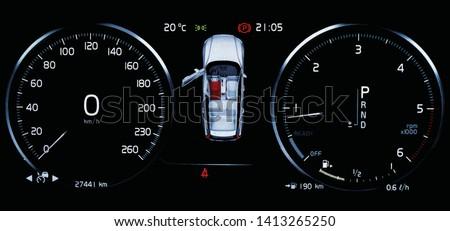 Illustration of car dashboard panel with speedometer, tachometer, odometer, fuel gauge, open door indicator, seat belt reminder and gear position indicator. Modern car digital LCD instrument cluster.