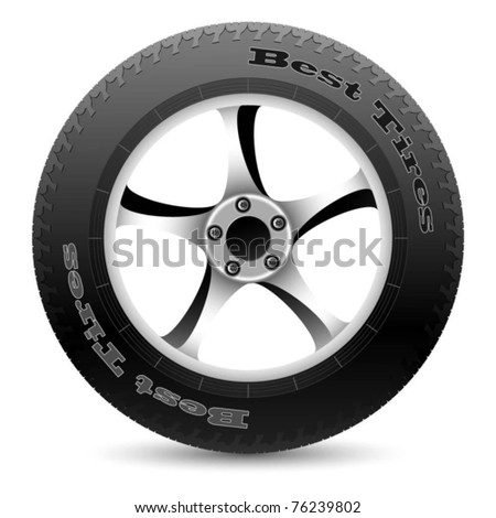 Illustration of car wheel on a white background. Vector.