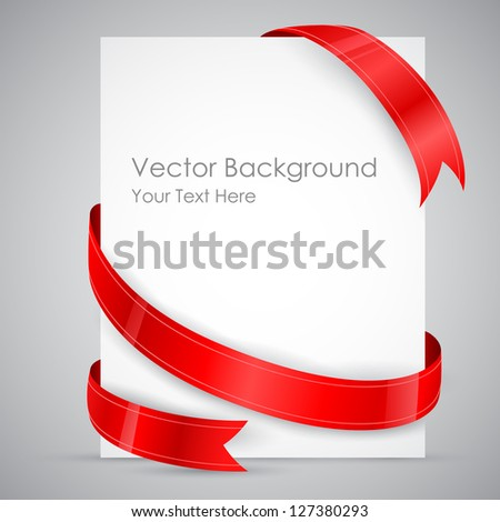 illustration of card wrapped with ribbon on isolated background